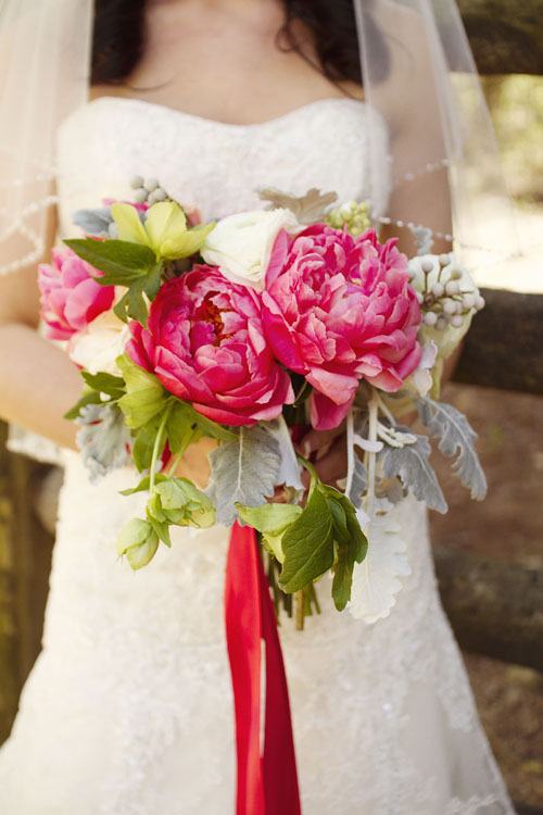 Gertie Mae's - hand-tied bouquet of coral charm peonies, green hellebores, dusty miller, white ranunculus