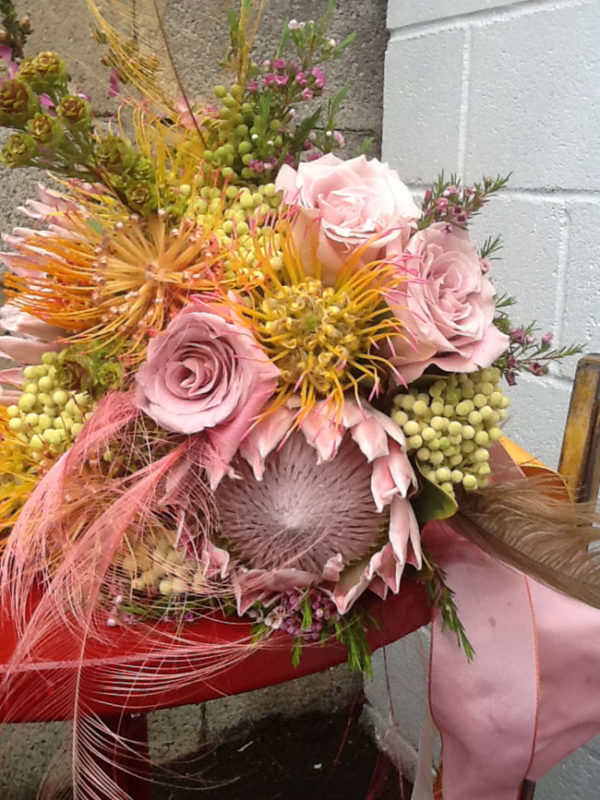 Mt Lebanon Floral Design, Bridal bouquet with dusty pink roses, proteas, pincushions and berzillia berries