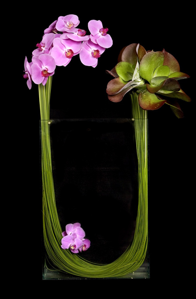 Ovando NYC, Contemporary Floral Design with steel grass, orchids and succulents.