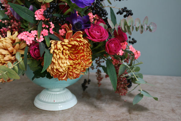 Jay Archer Floral Design, centerpiece with mums, ranunculus, anemones and eucalyptus