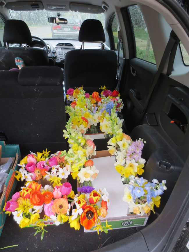 Ann from Farm to Vase -- flower arrangements loaded in car for transport