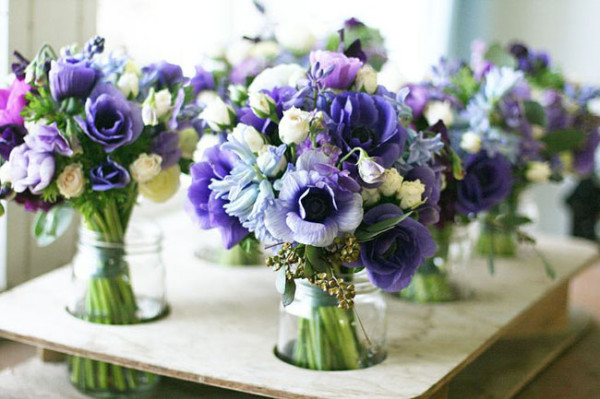 Floret Flower Farm -Blue and Purple Bouquets of purple anemones, blue hyacinth, white spray roses, sweet peas, seeded eucalyptus