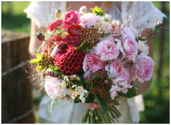Floret Flower Farm - Pink Bridal Bouquet of pink garden roses, ranunculus, dahlias, cranberry viburnum and honeysuckle