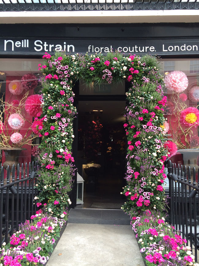 Entrance to Neill Strain's Flower Shop