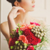 Paeony Floral Design - Bouquet of Red Coxcomb, Roses and Berzilla
