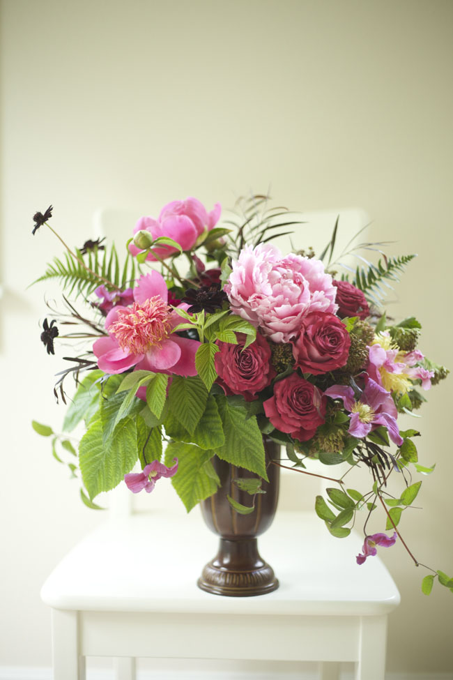 Bella Fiori - centerpiece of chocolate cosmos, peonies and roses
