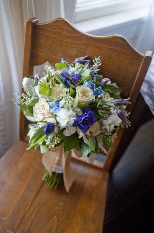 McKay Imaging Photography, The Arrangement Flowers NYC, Bridal Bouquets of white stock, white roses, blue delphinium, purple clematis.