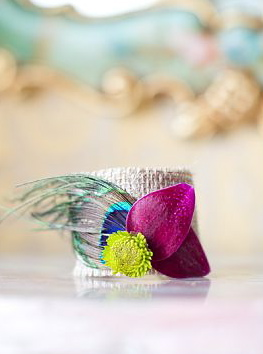 Noonan's Wine Country Designs & The Petal Club - Peacock feather wristlet corsage