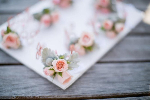 Noonan's Wine Country Designs & The Petal Club - dusty miller and rose corsage