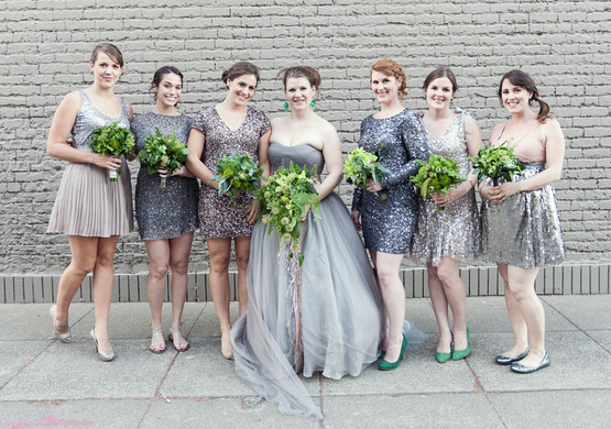 Designed by Alicia Schwede of Bella Fiori; Green Bridal party Bouquets