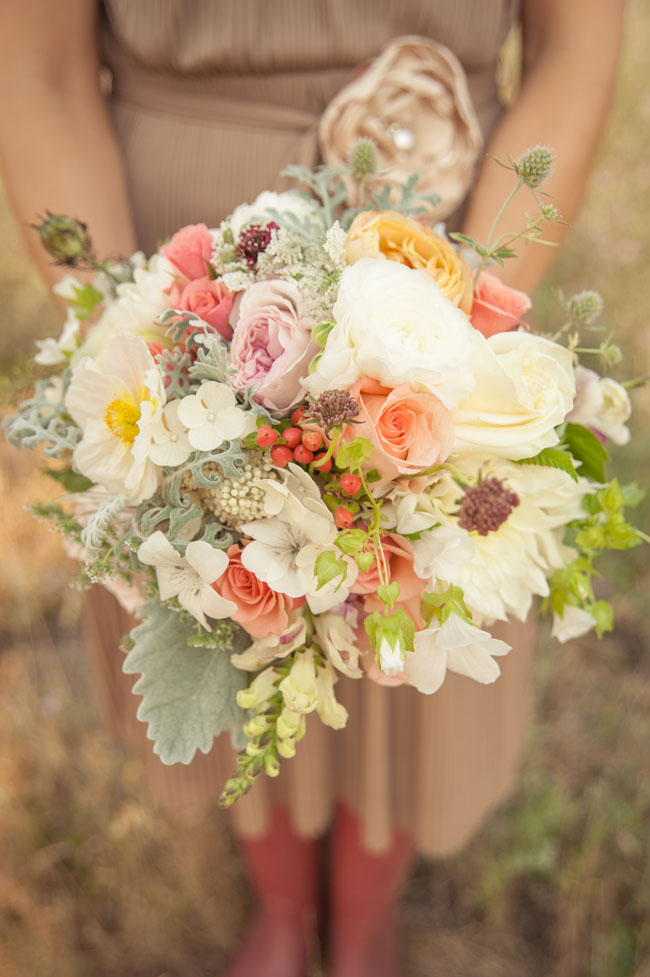 The Full Bloom Idaho, Bridal bouquet of white, pink and peach flowers with grey accents