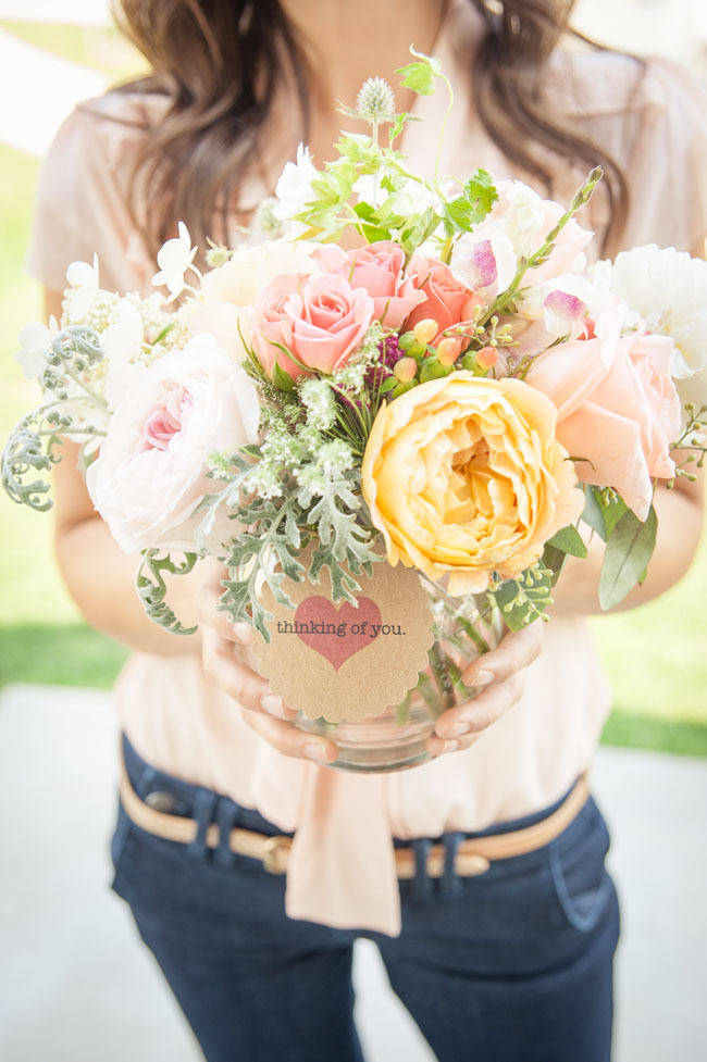 The Full Bloom Idaho - Arrangement of yellow and pink garden roses