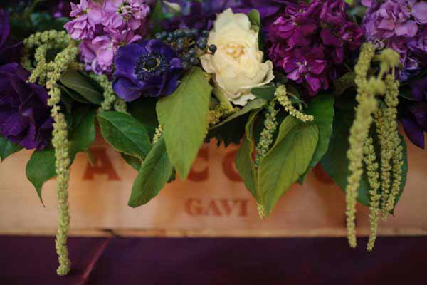 Bella Fiori, Wine box filled with purple hydrangea, stock, green amaranthus, white garden roses