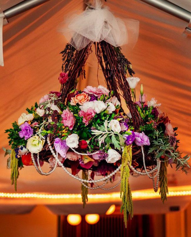 Destiny Hill Farm - curly willow and floral chandelier