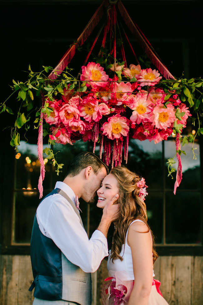 Noonan's Wine Country Florals Mirelle Carmichael Photography - Floral chandelier with coral charm peonies
