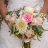 The Flower House, Denver, Colorado - Bridal bouquet with pink and white garden roses, dahlias and pieris japonica