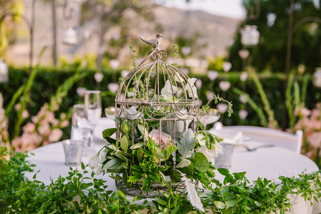 The English Garden LA - Bird Cage floral centerpiece for wedding reception