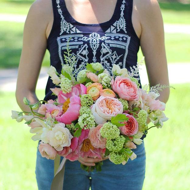Sweet Pea Floral Design - coral charm, juliet garden roses, viburnum bridal bouquet