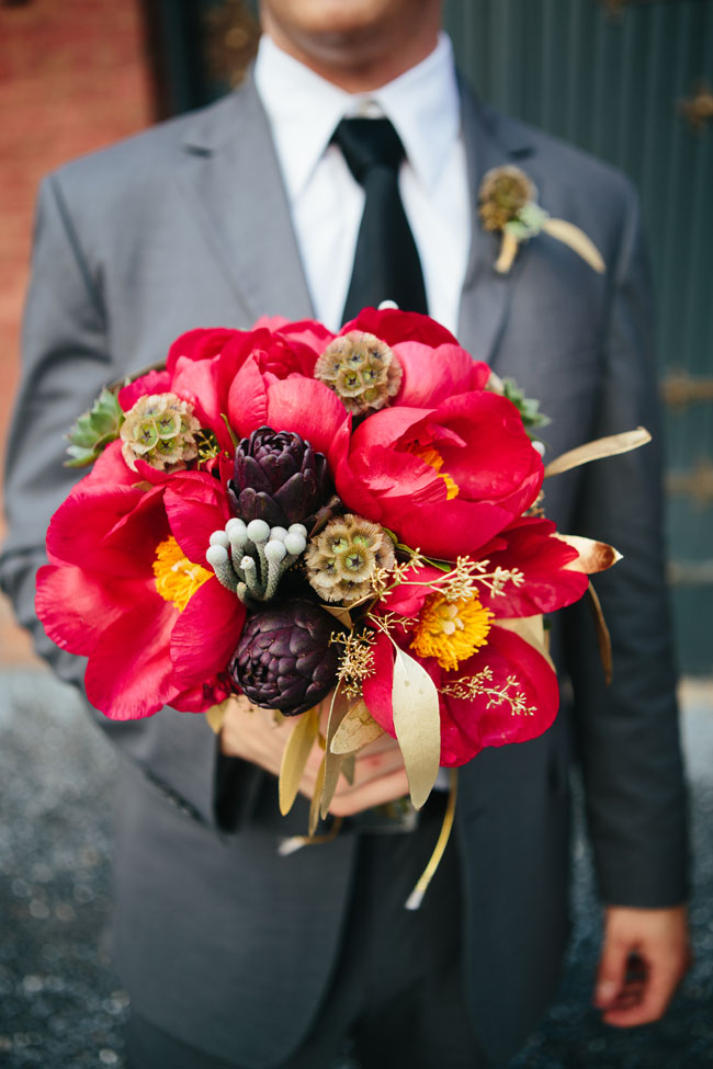 Village Green Florist - Red Peony Bouquet