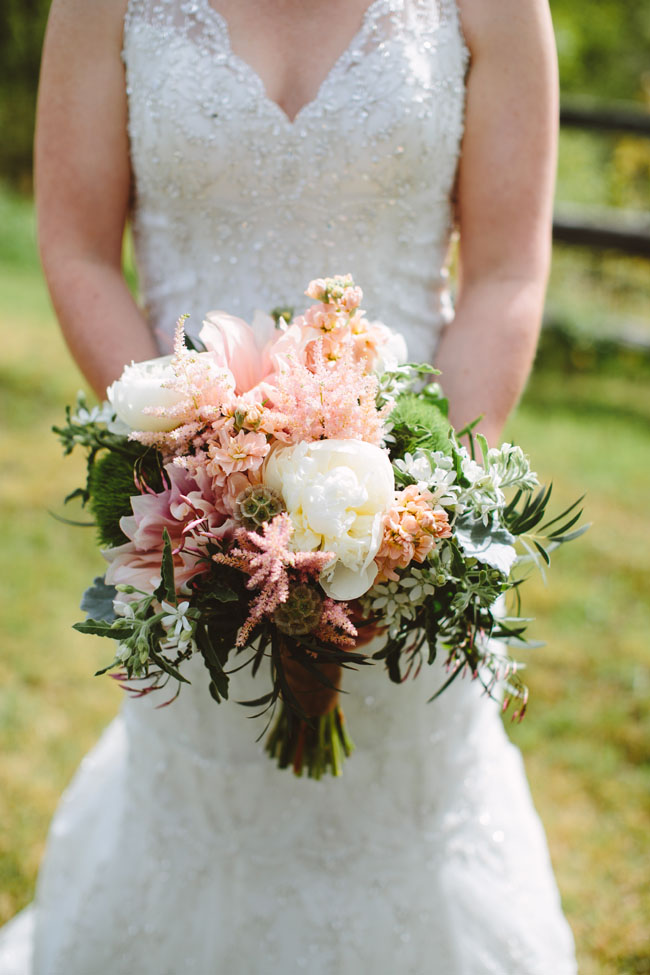 village green florist - peach bridal bouquet