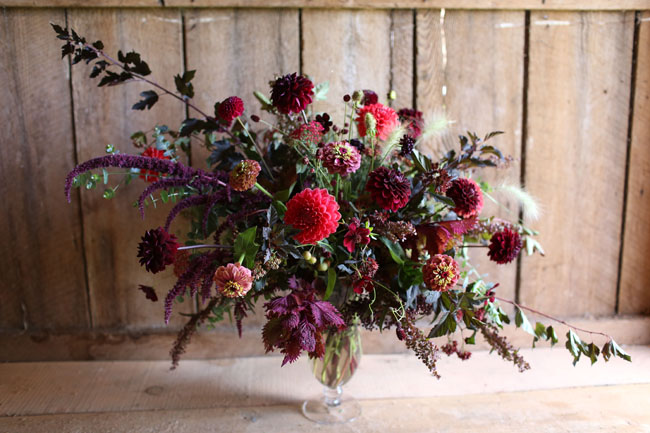 village green florist - red and burgundy centerpiece