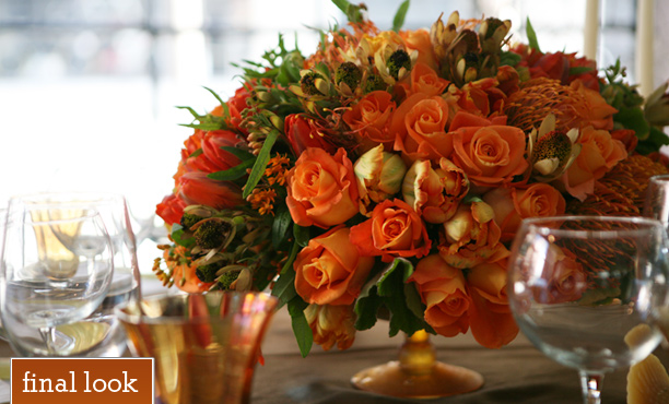Michael George, Orange centerpiece with roses and tulips