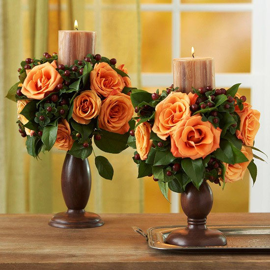 Thanksgiving Decorating Ideas with candles and orange roses