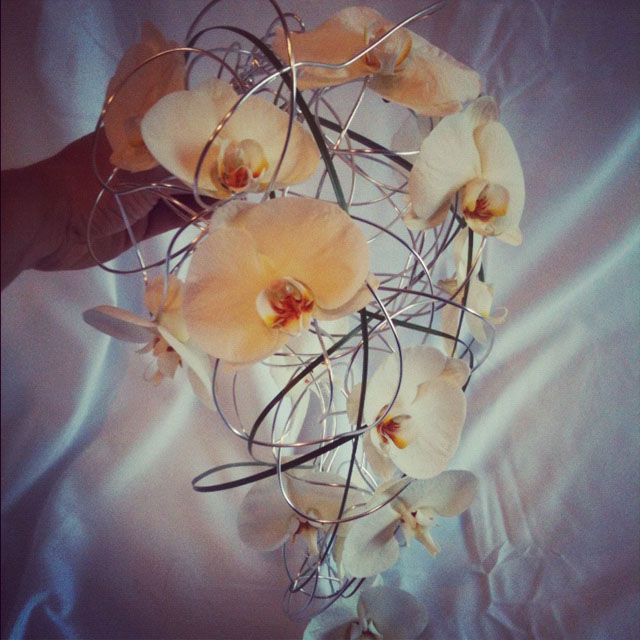 Budget Blooms, Vancouver - cascading orchid and wire bouquet