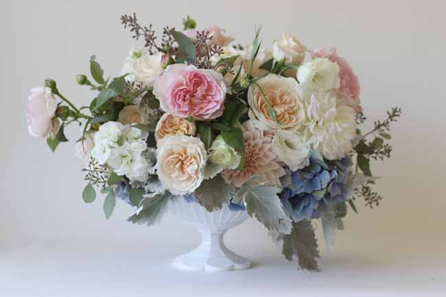 compote centerpiece, with garden roses, seeded eucalyptus, cafe au lait dahlias, hydrangea and dusty miller