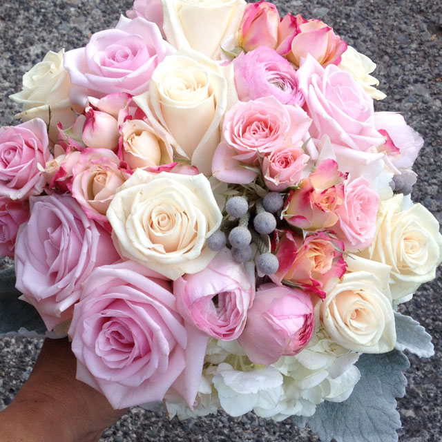 Budget Blooms, Vancouver - pink and cream rose bouquet