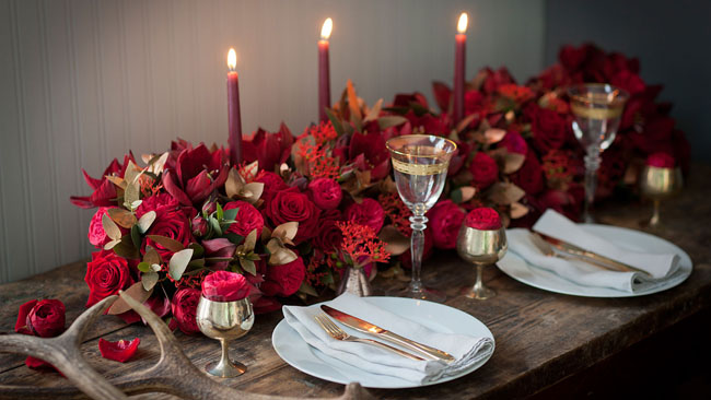 Jay Archer Floristry - all red floral display for the table
