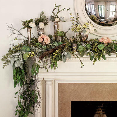 christmas garlands on the fireplace mantle