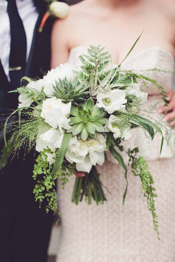 Bash and Bloom - green and white bridal bouquet