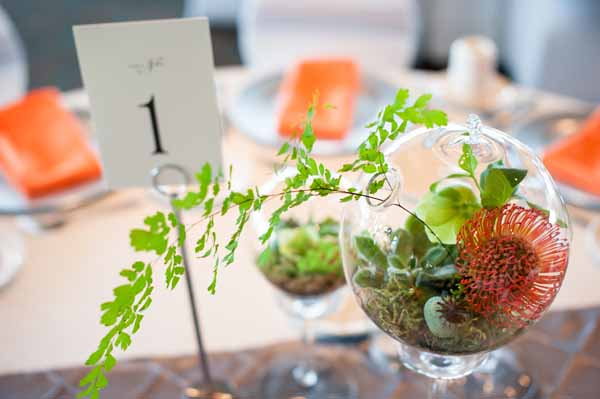 Bash and Bloom - green and orange centerpiece