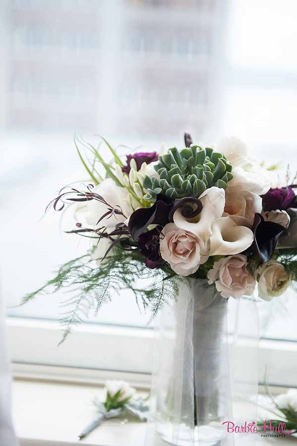 Bash and Bloom - blush, burgundy and green bouquet with callas, roses and succulents