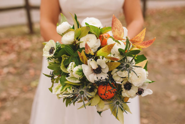 Crimson and Clover Floral Design - bridal bouquet with anemones, tulips, thistle