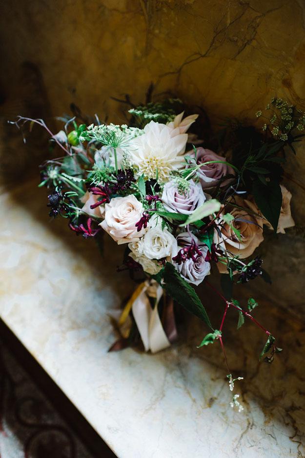 Crimson and Clover Floral Design - bridal bouquet with dahlias