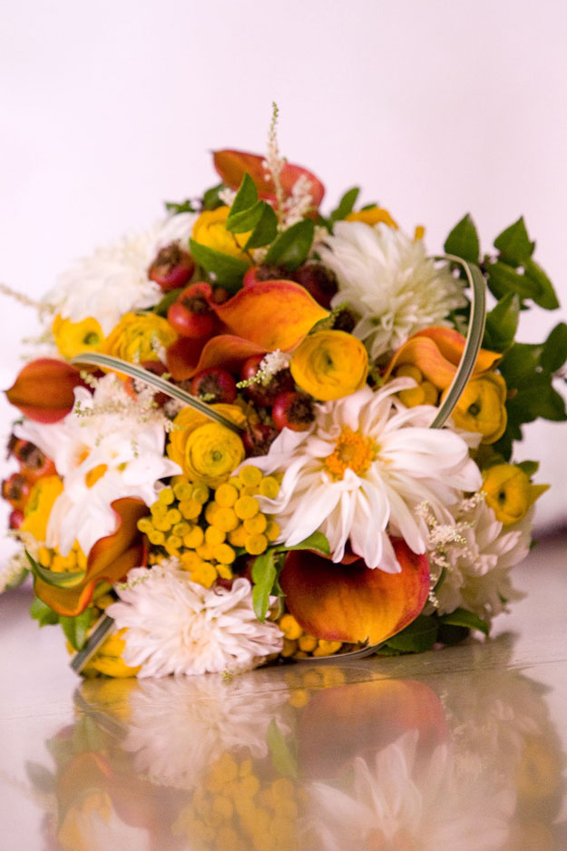 Crimson and Clover Floral Design - bridal bouquet with yellow and white flowers