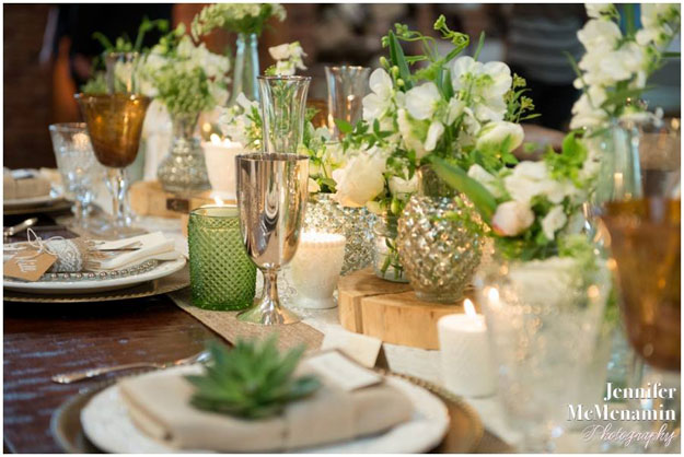 Crimson and Clover Floral Design - green and white floral reception