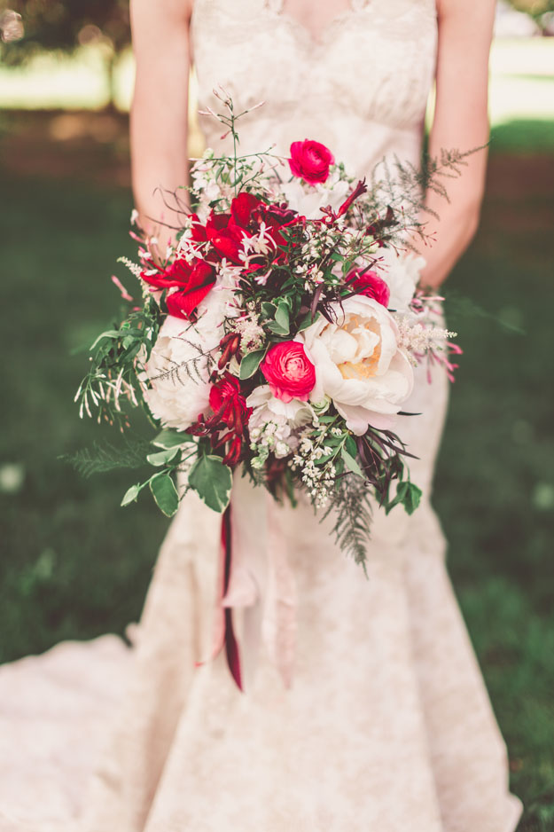 Crimson and Clover Floral Design - red and cream bridal bouquet