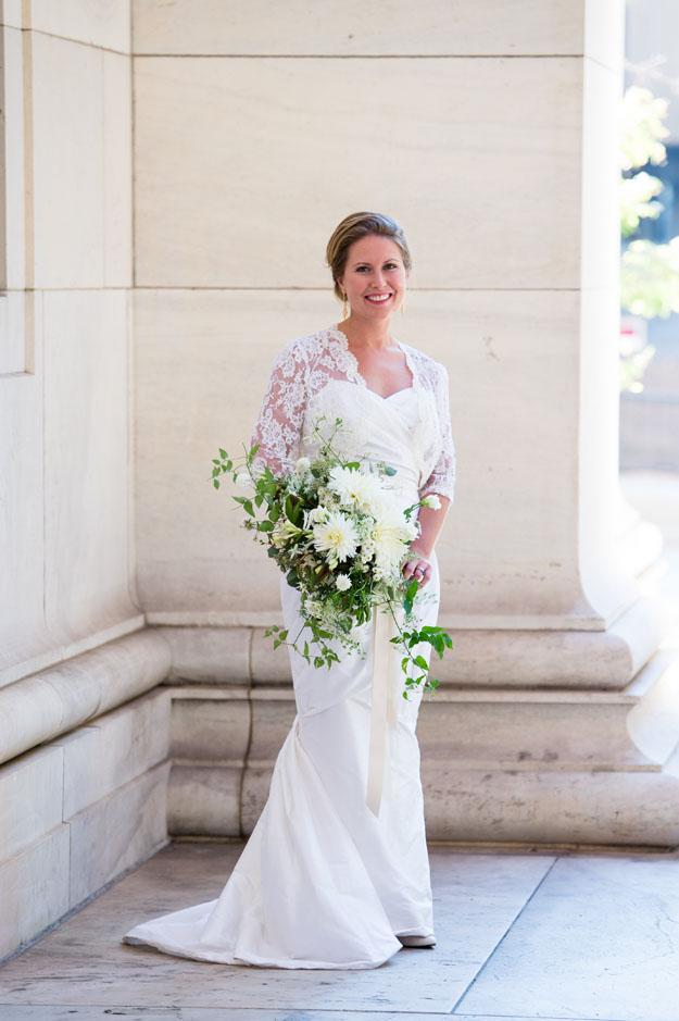 Crimson and Clover Floral Design - white and cream cascading bridal bouquet