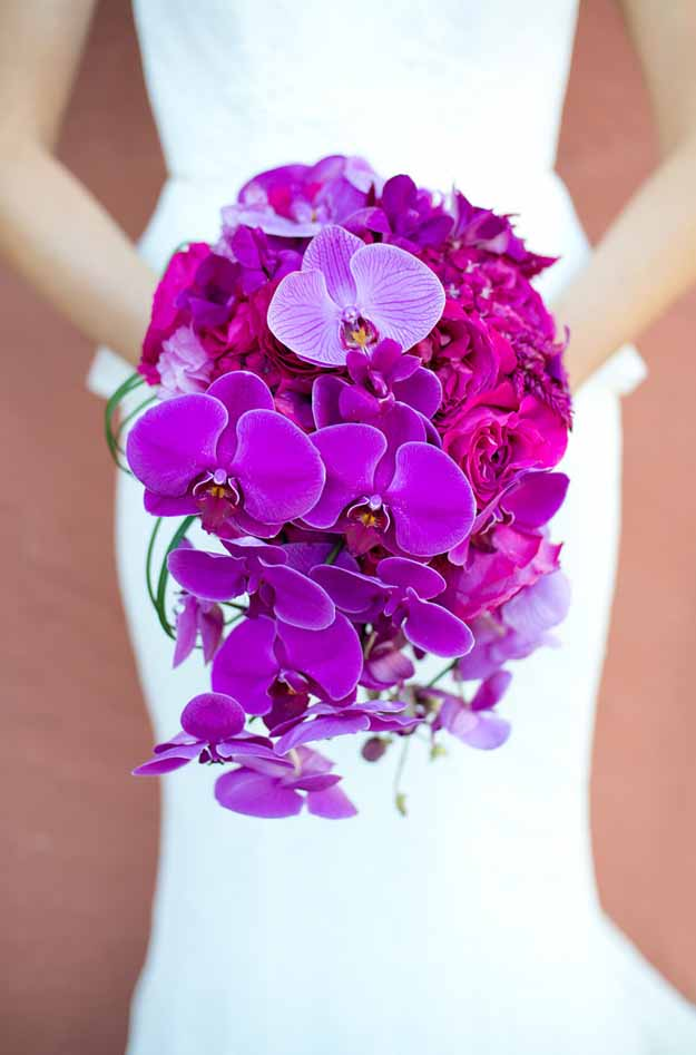 Flower Bar - Fuchsia Orchid cascading bouquet