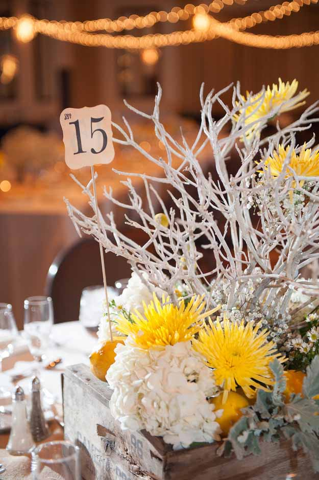 Flower Bar - centerpiece with yellow and white flowers