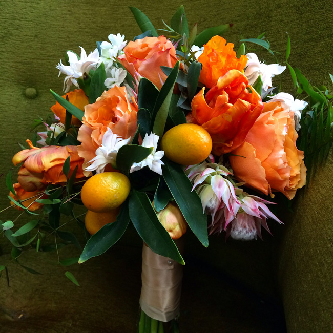 Flirty Fleurs Floral Design Workshops - Orange and White Bridal Bouquet with Kumquats