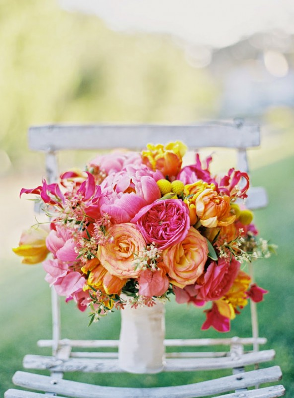 Heavenly Blooms - pink, tangerine bouquet