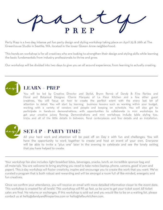 Party Prep Styling Workshop – Seattle, Washington