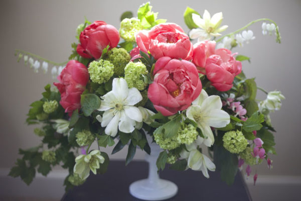 Bella Fiori - Peony, clematis and viburnum floral design in milk glass