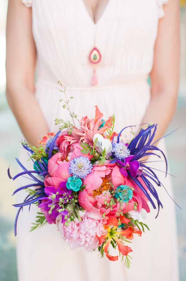 Pixies petals, bridal bouquet iwth pink, blue, indigo colors