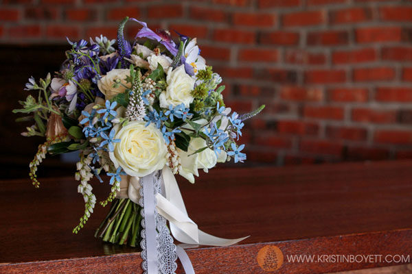 Studio 3 Floral, Tweedia, Roses, veronica and clematis bouquet