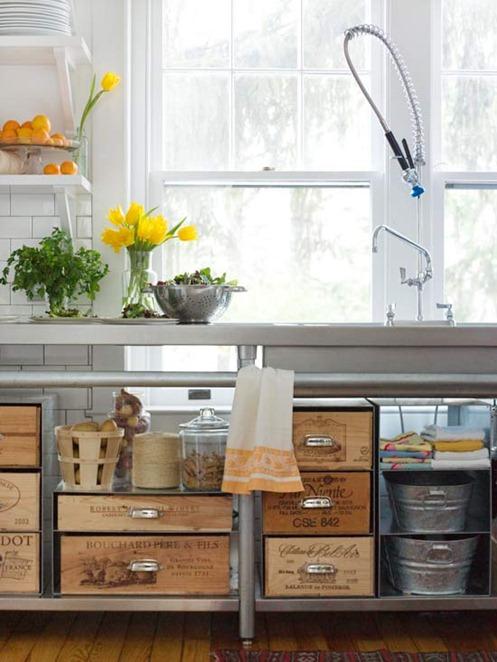 designer sink with crates
